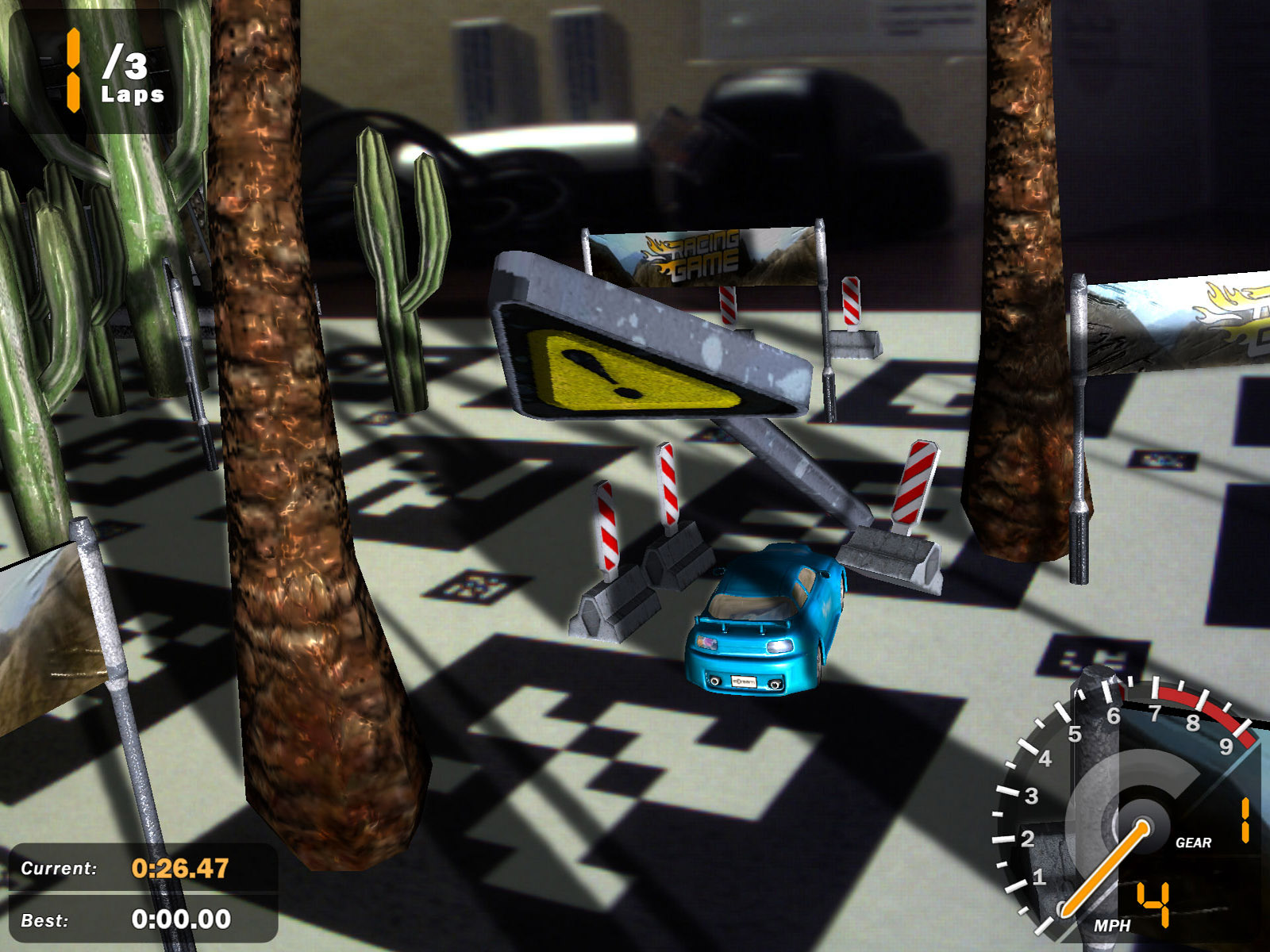 XNA AR Racing Game screenshot showing car knocking over traffic sign