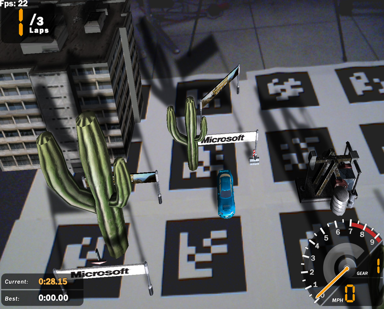 XNA AR Racing Game screenshot showing virtual objects on physical gameboard